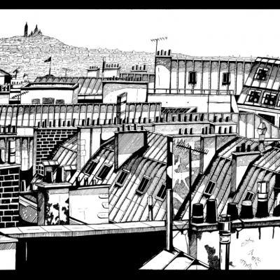 TOITS DE PARIS- 100x80 - ACRYLIQUE -  PRIX MARIN DU SALON DES BEAUX ARTS 2015 - VENDUE