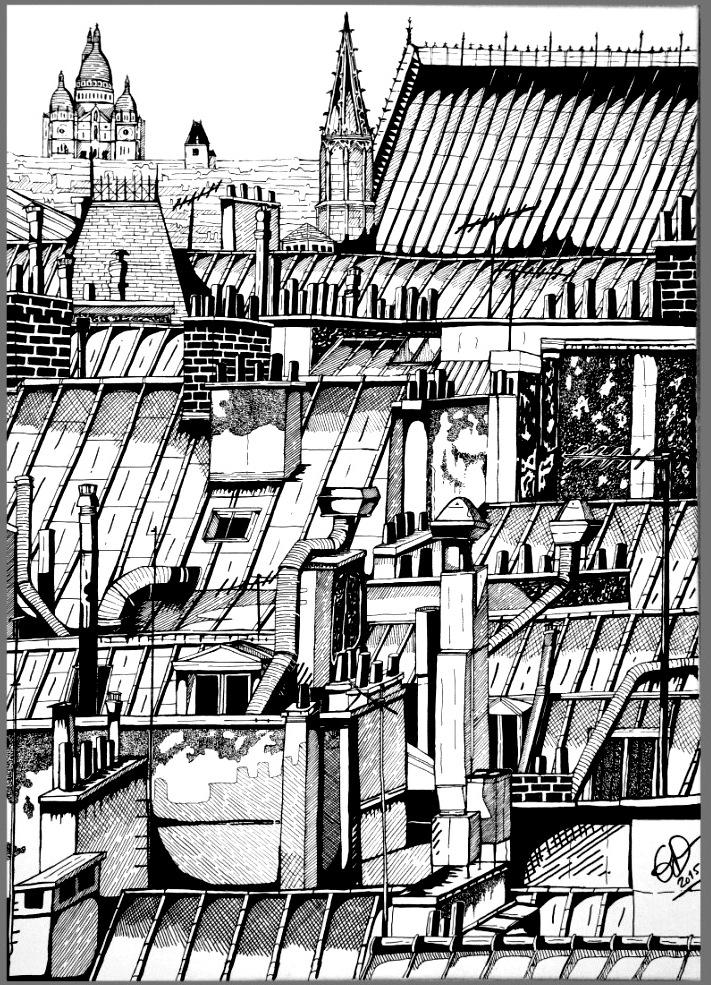 TOITS DE PARIS 3 - 50x60 - ACRYLIQUE - VENDUE