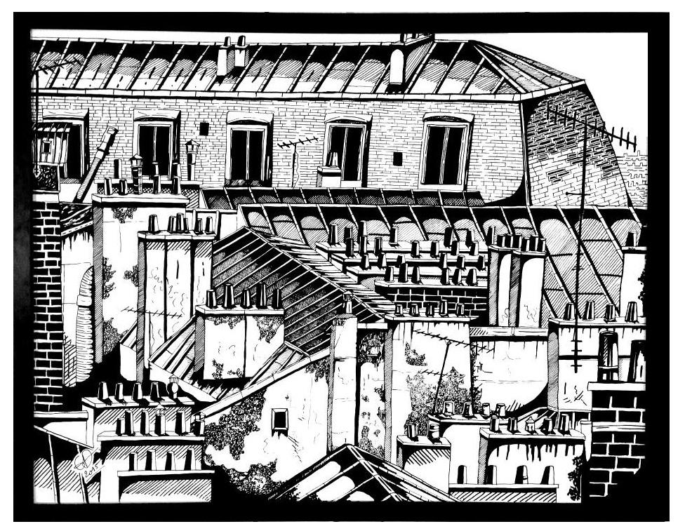 TOITS DE PARIS 4 - 65x50 - ACRYLIQUE - VENDUE